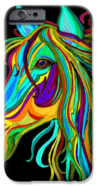 Colorful Horse Head 2 iPhone Case by Nick Gustafson