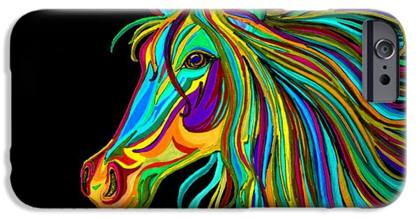 Mammals Drawings iPhone Cases - Colorful Horse Head 2 iPhone Case by Nick Gustafson