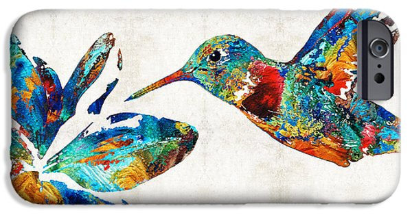 Delicate iPhone Cases - Colorful Hummingbird Art by Sharon Cummings iPhone Case by Sharon Cummings