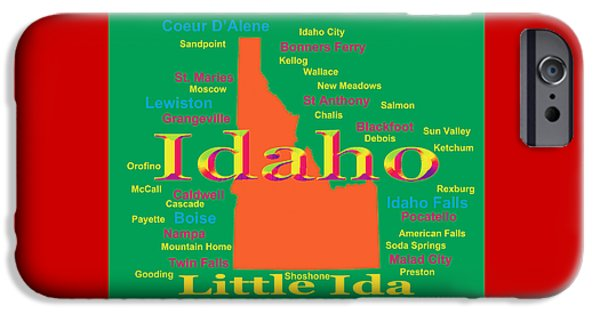Lewiston iPhone Cases - Colorful Idaho State Pride Map Silhouette  iPhone Case by Keith Webber Jr