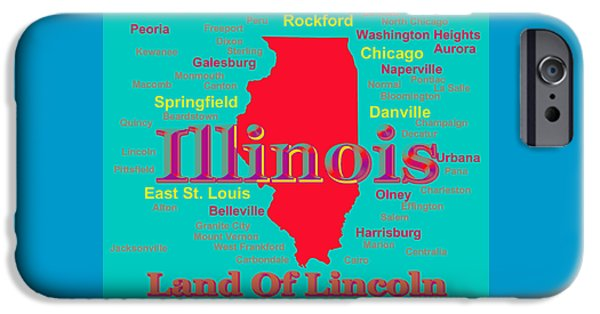 Normal iPhone Cases - Colorful Illinois State Pride Map Silhouette  iPhone Case by Keith Webber Jr