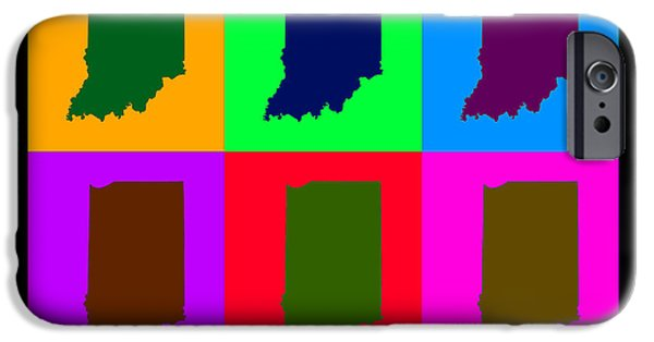 Indiana Art iPhone Cases - Colorful Indiana State Pop Art Map iPhone Case by Keith Webber Jr