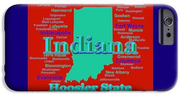 Indiana Art iPhone Cases - Colorful Indiana State Pride Map Silhouette  iPhone Case by Keith Webber Jr