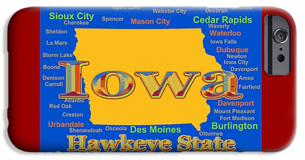 Iowa iPhone Cases - Colorful Iowa State Pride Map Silhouette  iPhone Case by Keith Webber Jr