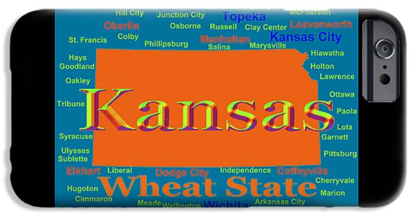 States iPhone Cases - Colorful Kansas State Pride Map Silhouette  iPhone Case by Keith Webber Jr