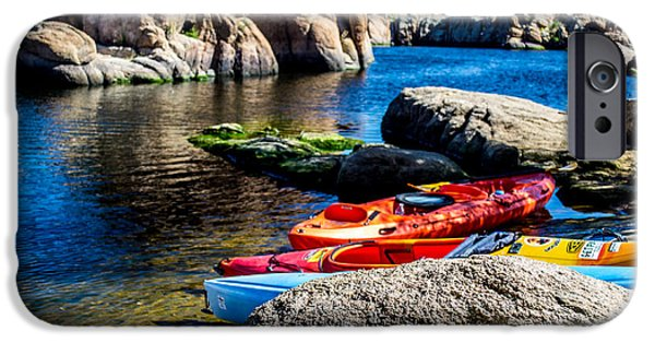Watson Lake iPhone Cases - Colorful Kayaks iPhone Case by Michelle Gee