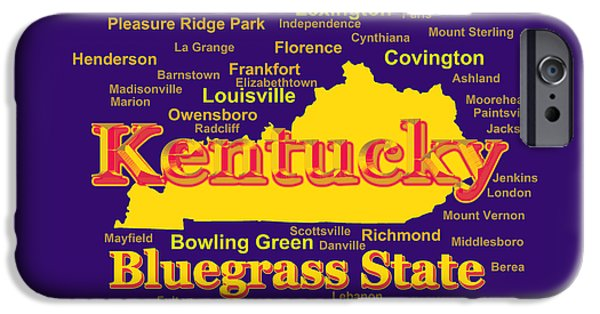 Pleasure Digital Art iPhone Cases - Colorful Kentucky State Pride Map Silhouette  iPhone Case by Keith Webber Jr