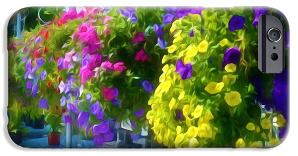House iPhone Cases - Colorful Large Hanging Flower Plants 1 iPhone Case by Lanjee Chee