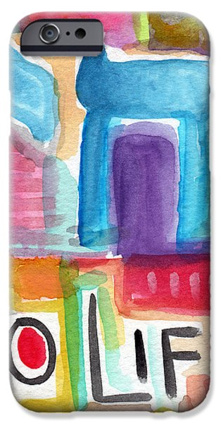 Wall Mixed Media iPhone Cases - Colorful Life- Abstract Jewish Greeting Card iPhone Case by Linda Woods