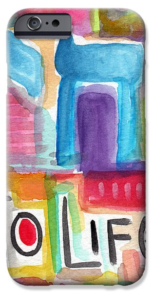 Jewish iPhone Cases - Colorful Life- Abstract Jewish Painting iPhone Case by Linda Woods