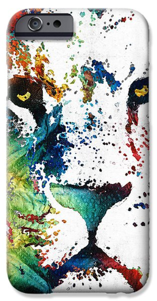Kids Sports Art iPhone Cases - Colorful Lion Art By Sharon Cummings iPhone Case by Sharon Cummings