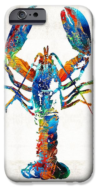 Maine Beach iPhone Cases - Colorful Lobster Art by Sharon Cummings iPhone Case by Sharon Cummings
