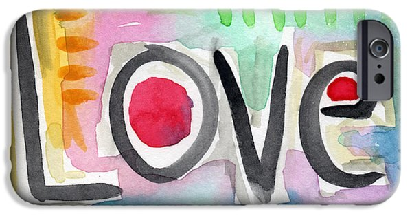 Pop Mixed Media iPhone Cases - Colorful Love- painting iPhone Case by Linda Woods