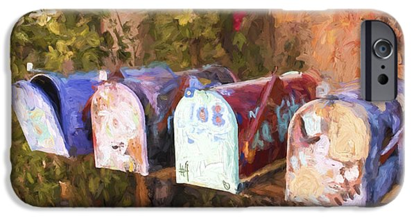 Artsy iPhone Cases - Colorful Mailboxes Santa Fe Painterly Effect iPhone Case by Carol Leigh