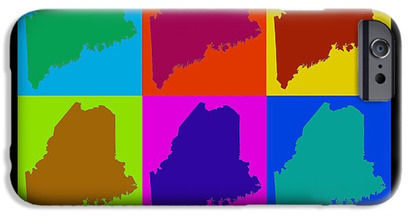 Maine iPhone Cases - Colorful Maine Pop Art Map iPhone Case by Keith Webber Jr