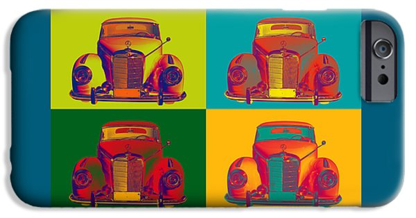 Sportcars iPhone Cases - Colorful Mercedes Benz 300 Luxury Car Pop Art iPhone Case by Keith Webber Jr