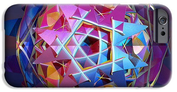 Fractal Orbs iPhone Cases - Colorful metallic orb iPhone Case by Gaspar Avila