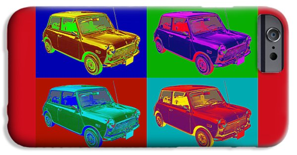 Antique Cars iPhone Cases - Colorful Mini Cooper Pop Art Illustration iPhone Case by Keith Webber Jr
