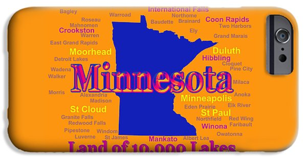 Alexandria iPhone Cases - Colorful Minnesota State Pride Map Silhouette  iPhone Case by Keith Webber Jr