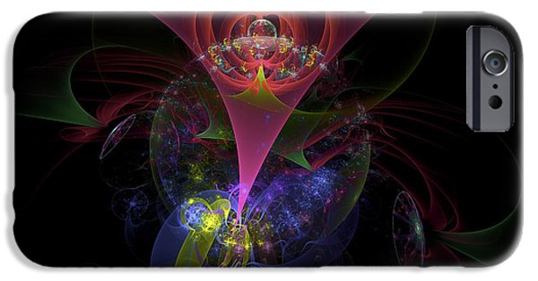 """digital Abstract"" iPhone Cases - Colorful Modern Fractal Art Image On Black Background iPhone Case by Keith Webber Jr"