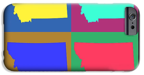 Montana State Map iPhone Cases - Colorful Montana State Pop Art Map iPhone Case by Keith Webber Jr
