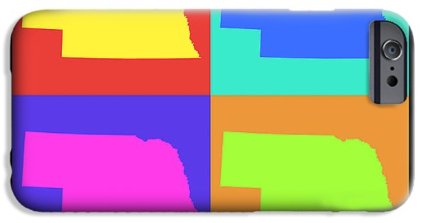 Nebraska iPhone Cases - Colorful Nebraska State Pop Art Map iPhone Case by Keith Webber Jr