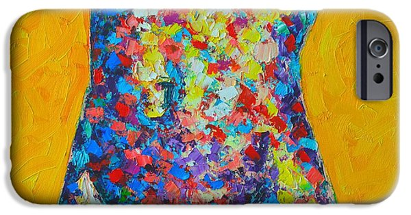 Abstract Expressionist iPhone Cases - Colorful Nude  iPhone Case by Ana Maria Edulescu