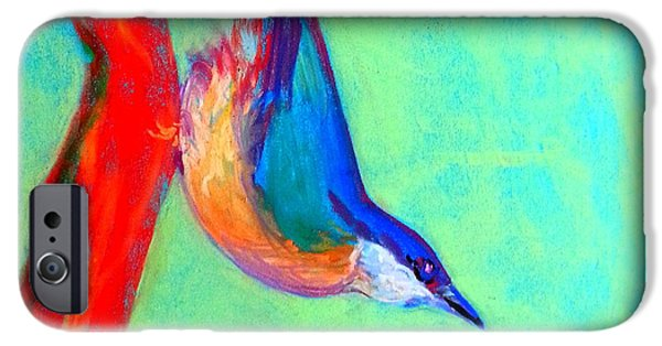 Loose Style iPhone Cases - Colorful Nuthatch Bird iPhone Case by Sue Jacobi