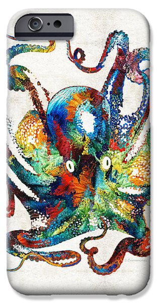 Creatures Paintings iPhone Cases - Colorful Octopus Art by Sharon Cummings iPhone Case by Sharon Cummings