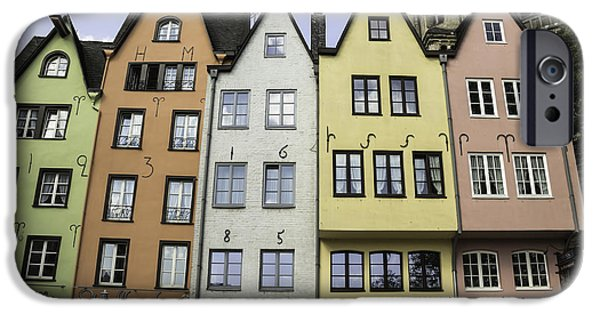 Seventeenth Century iPhone Cases - Colorful Old Townhouses Cologne iPhone Case by Teresa Mucha