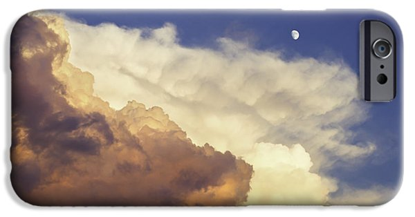 Drama iPhone Cases - Colorful Orange Magenta Storm Clouds Moon At Sunset iPhone Case by Keith Webber Jr