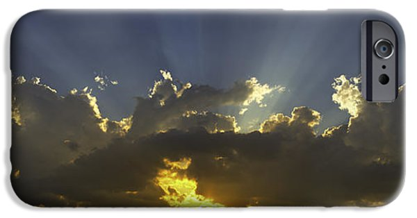 Drama iPhone Cases - Colorful Orange Yellow Clouds At Sunset Panorama Fine Art print iPhone Case by Keith Webber Jr