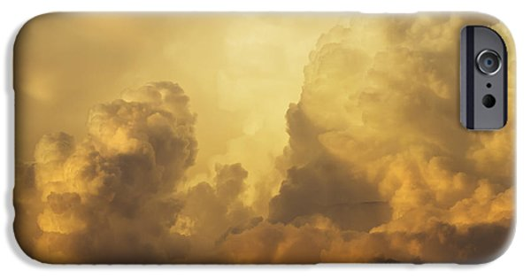Drama iPhone Cases - Colorful Orange Yellow Storm Clouds At Sunset  iPhone Case by Keith Webber Jr