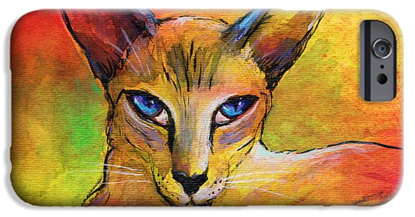 Oriental iPhone Cases - Colorful Oriental shorthair Cat painting iPhone Case by Svetlana Novikova