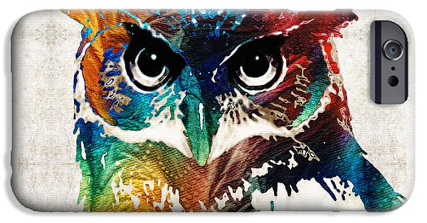 Wisdom iPhone Cases - Colorful Owl Art - Wise Guy - By Sharon Cummings iPhone Case by Sharon Cummings