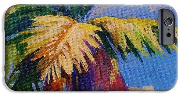 Cuba iPhone Cases - Colorful Palm iPhone Case by John Clark