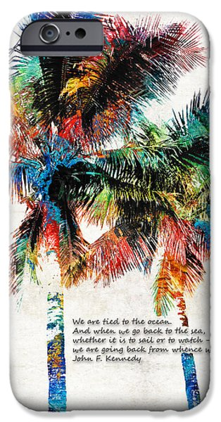 Bermudas iPhone Cases - Colorful Palm Trees - Returning Home - By Sharon Cummings iPhone Case by Sharon Cummings