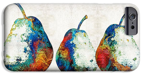 Pear iPhone Cases - Colorful Pear Art - Three Pears - By Sharon Cummings iPhone Case by Sharon Cummings