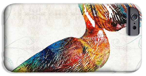 Pelicans iPhone Cases - Colorful Pelican Art 2 by Sharon Cummings iPhone Case by Sharon Cummings