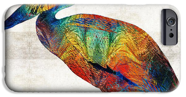 Pelicans iPhone Cases - Colorful Pelican Art By Sharon Cummings iPhone Case by Sharon Cummings