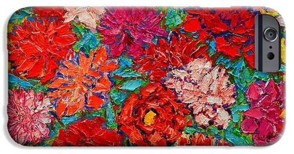 Abstract Expressionism iPhone Cases - Colorful Peonies iPhone Case by Ana Maria Edulescu