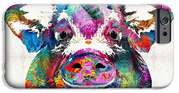 Whimsical. Paintings iPhone Cases - Colorful Pig Art - Squeal Appeal - By Sharon Cummings iPhone Case by Sharon Cummings