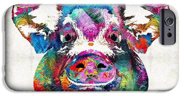 Digital Paintings iPhone Cases - Colorful Pig Art - Squeal Appeal - By Sharon Cummings iPhone Case by Sharon Cummings