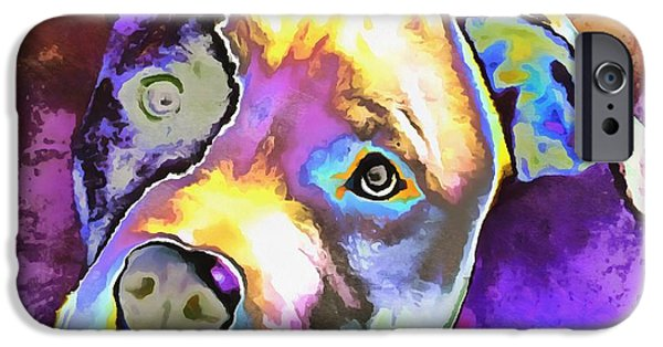 Innocence Mixed Media iPhone Cases - Colorful Pit Bull  iPhone Case by Dan Sproul