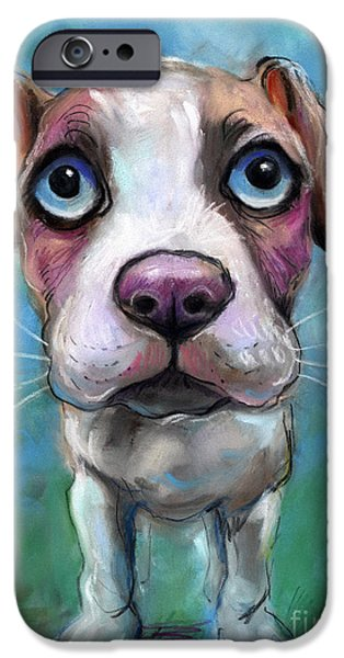 Cute Puppy iPhone Cases - Colorful pit bull puppy with blue eyes painting  iPhone Case by Svetlana Novikova