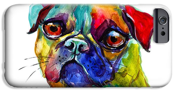 Posters From iPhone Cases - Colorful Pug dog painting  iPhone Case by Svetlana Novikova