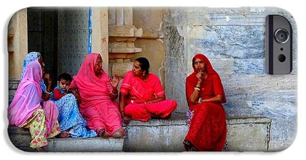 Women Together iPhone Cases - Colorful Rajasthani Women in Udaipur Temple India iPhone Case by Sue Jacobi Photography