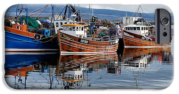 Boats In Water iPhone Cases - Colorful Reflections iPhone Case by Lois Bryan