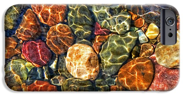 Nature Abstracts iPhone Cases - Colorful Rocks in Stream Bed Montana iPhone Case by Jennie Marie Schell