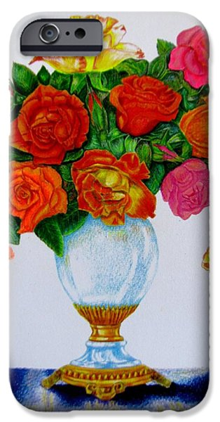 Flora Drawings iPhone Cases - Colorful Roses iPhone Case by Zina Stromberg